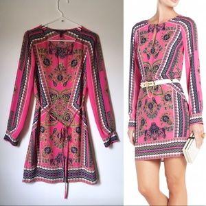 "BCBG ""Freya"" Pink Paisley Print Dress Waist Tie"